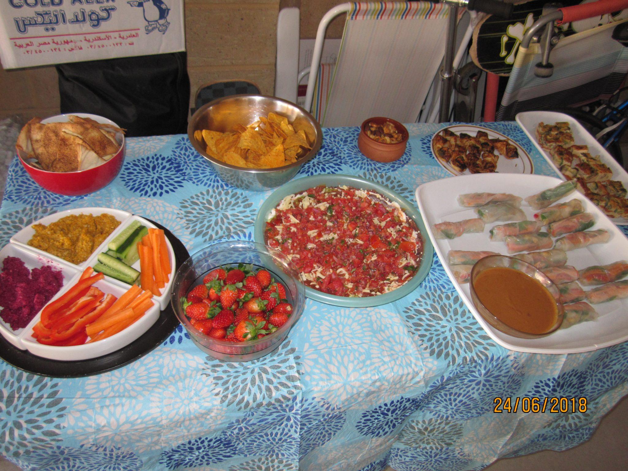 Vietnamese, rice paper rolls, Mexican 7-layered dip, home-made cashew pumpkin dip, home-made beetroot dip.